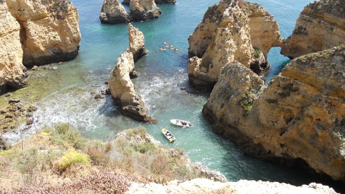 Boote an der Bucht im Ausflug von der Ferienwohnung Portugal in Lagos